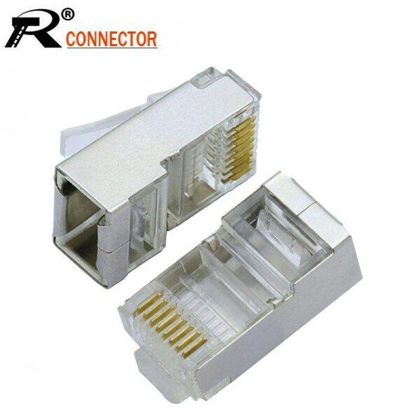 20pcs/lot 8p8c Rj45 Modular Plug Metal Shell Cat6 Ethernet Male Plug Network Cable Crystal Head Jack Socket