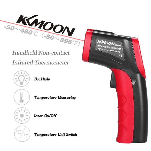 KKmoon -50~480℃ 12:1 Handheld Digital Non-contact IR Thermometer Temperature Tester Pyrometer Industrial Infrared Thermometer LCD Display with Backlight Centigrade Fahrenheit (NOT for Humans)
