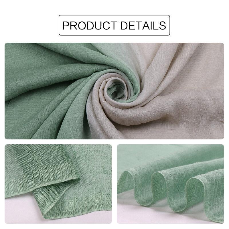 Jifangผ้าพันคอคลุมไหล่ผ้าคอตตอนลินินสีไล่ระดับ,ผ้าคลุมไหล่มุสลิมฮิญาบผ้าพันคอผ้าคลุมศีรษะ180X90ซม. 11สีWJ576