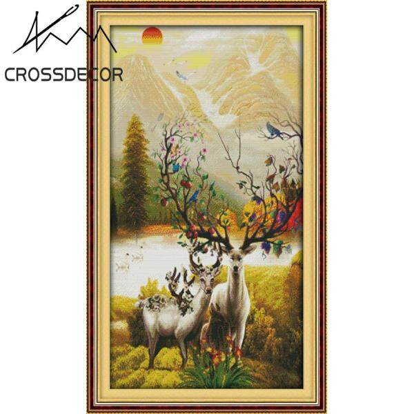 CrossDecor Precise Stamped Cross Stitch Complete Set A Rich Deer Happiness 14CT DIY Handmade Embroidery Thread Handcraft Needlework Home Room Porch Corridor Decoration Picture