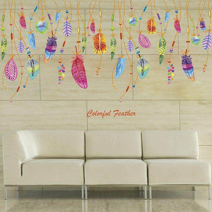 XIN Colorful Feather Pendant DIY Self Adhesive Vinyl Removable Decal for Bedroom Living Room Home Decor Art PVC Wall Stickers Mural