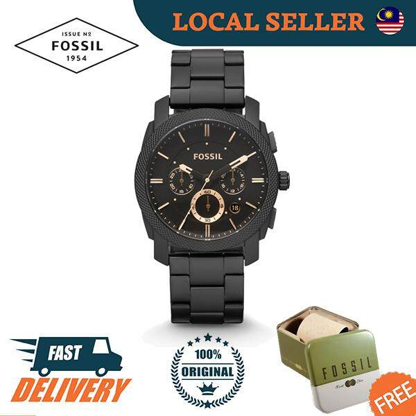 [Authentic] Fossil Machine Mid-Size Chronograph Black Stainless Steel Men Watch Jam Tangan Lelaki FS4682 Malaysia