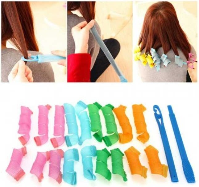 Magic Hair Curlers long Twist Spiral Circle Curlformers Magic Rollers Styling Tool 18 PCS