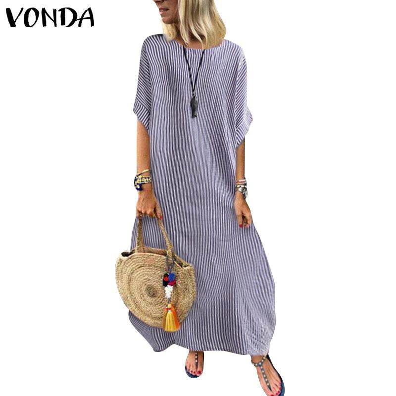 f77887c704 VONDA Women Striped Loose Long Kaftan Batwing Sleeve Baggy Maxi Dress Shirt  Dress Plus