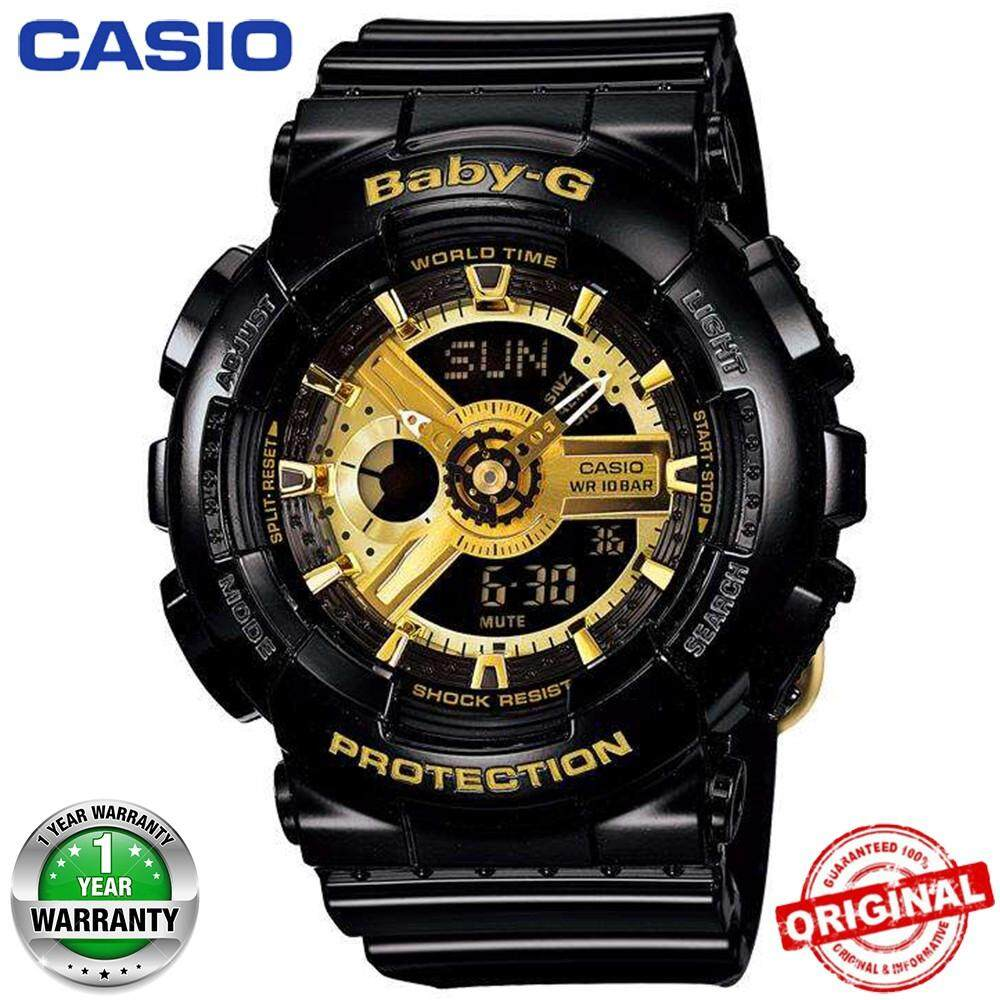 (Hot sale) 100% Original Casio Baby-G BA110 Black Gold Wrist Watch Women Sport Malaysia