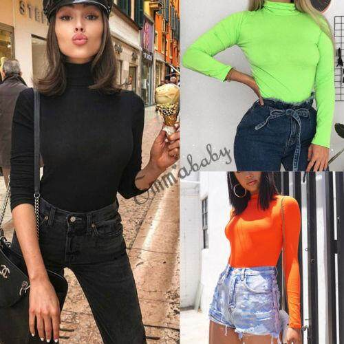 5503301bb2c Ladies Plain High Roll Turtle Neck Bodysuit Women s Long Sleeve Leotard Top