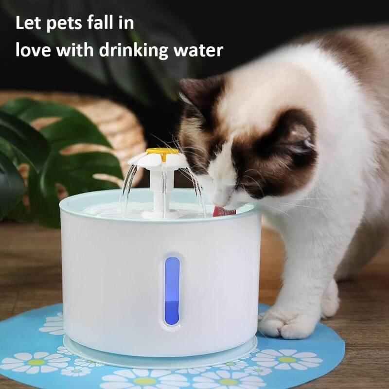 2.4L Tự Động Cho Thú Cưng Mèo Vòi Phun Nước có ĐÈN LED Điện USB Chó Mèo Thú Cưng Tắt Tiếng Người Uống Ăn Bát Thú Cưng Máy với bình tập uống Nước