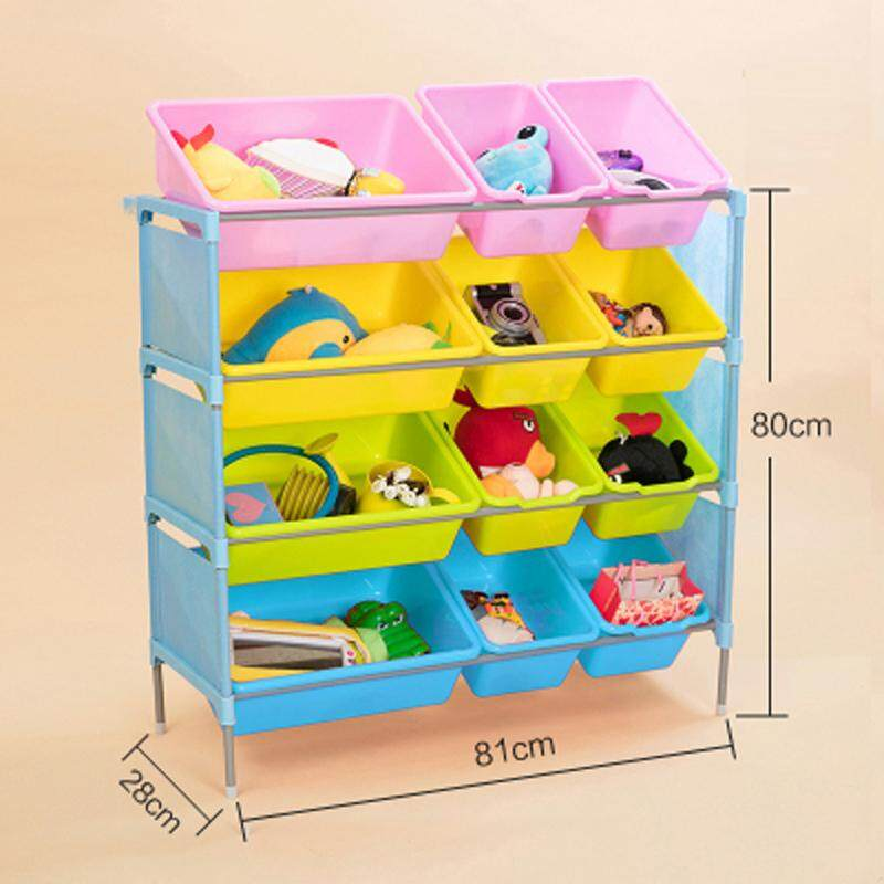 RuYiYu - 81 X 80 X 28cm, 4 Layers Kids Toy Organizer and Storage Bins, 4 Big + 8 Small Bins in Fun Colors, Toy Storage Rack