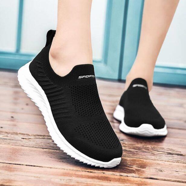 Lưới Thở Giày Chạy Bộ Giày Thể Thao Nữ Giày Tập Vớ Giày Thể Thao Nữ Giày Nữ Mùa Hè D-424 Quần Vợt Đi Bộ Màu Đen giá rẻ