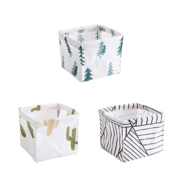 Mini Cotton Linen Fabric Storage Basket Nordic Series Desk Stationery Storage Basket Cosmetics Sundries Sorting Box