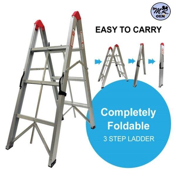 MR OEM Portable Completely Foldable 3 & 5 Steps Aluminium Ladder Silver Tangga Lipat Ringgan