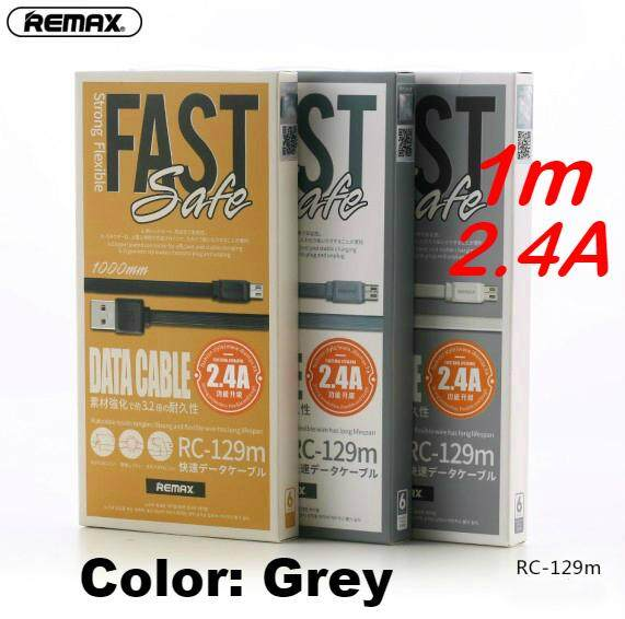 Remax RC-129m 1 Meter Fast PRO Data Cable 2 4A Micro USB for  Samsung/Huawei/Xiaomi/Vivo/Oppo/Asus/Lenovo/Sony (Grey)