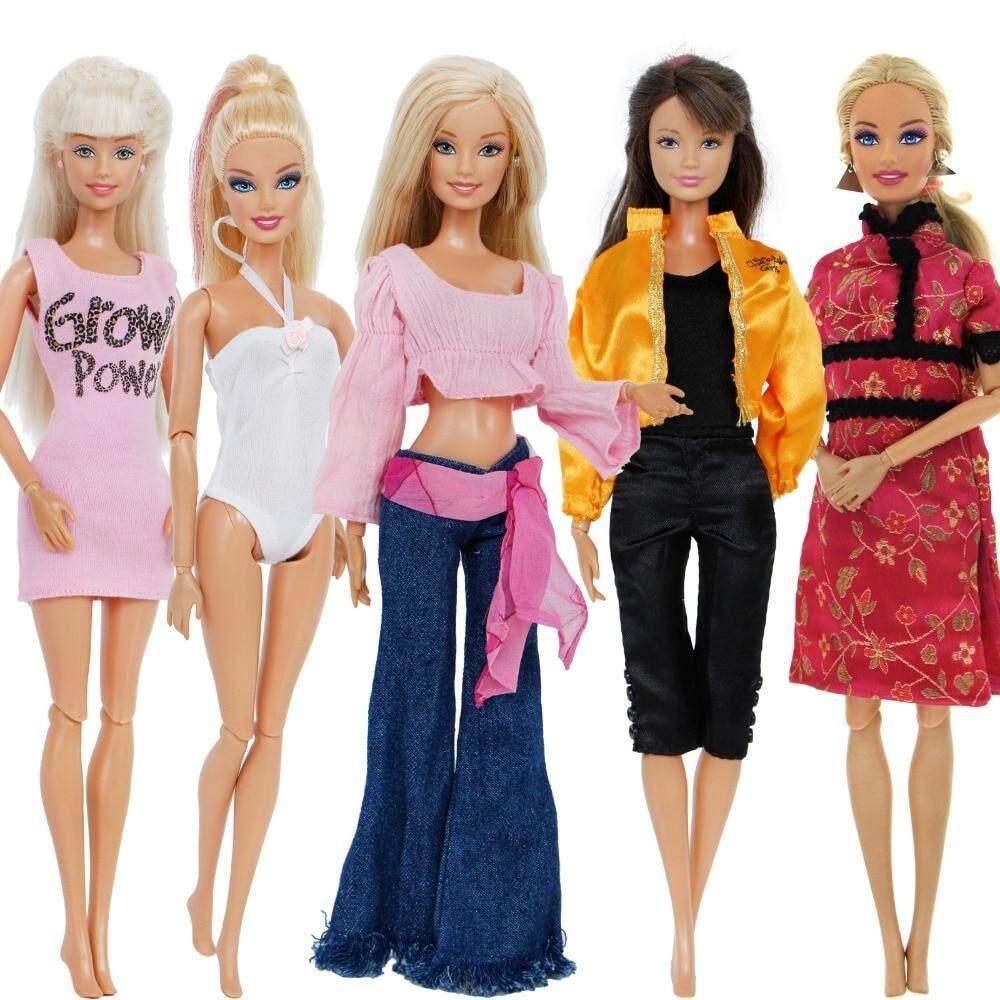 e5fda1a3cff7d JM 5 Pcs/Lot Mixed Style Outfit Dating Wear Mini Dress Swimsuit Coat  Jumpsuits Pants Blouse Clothes For Barbie Doll Accessories Toy
