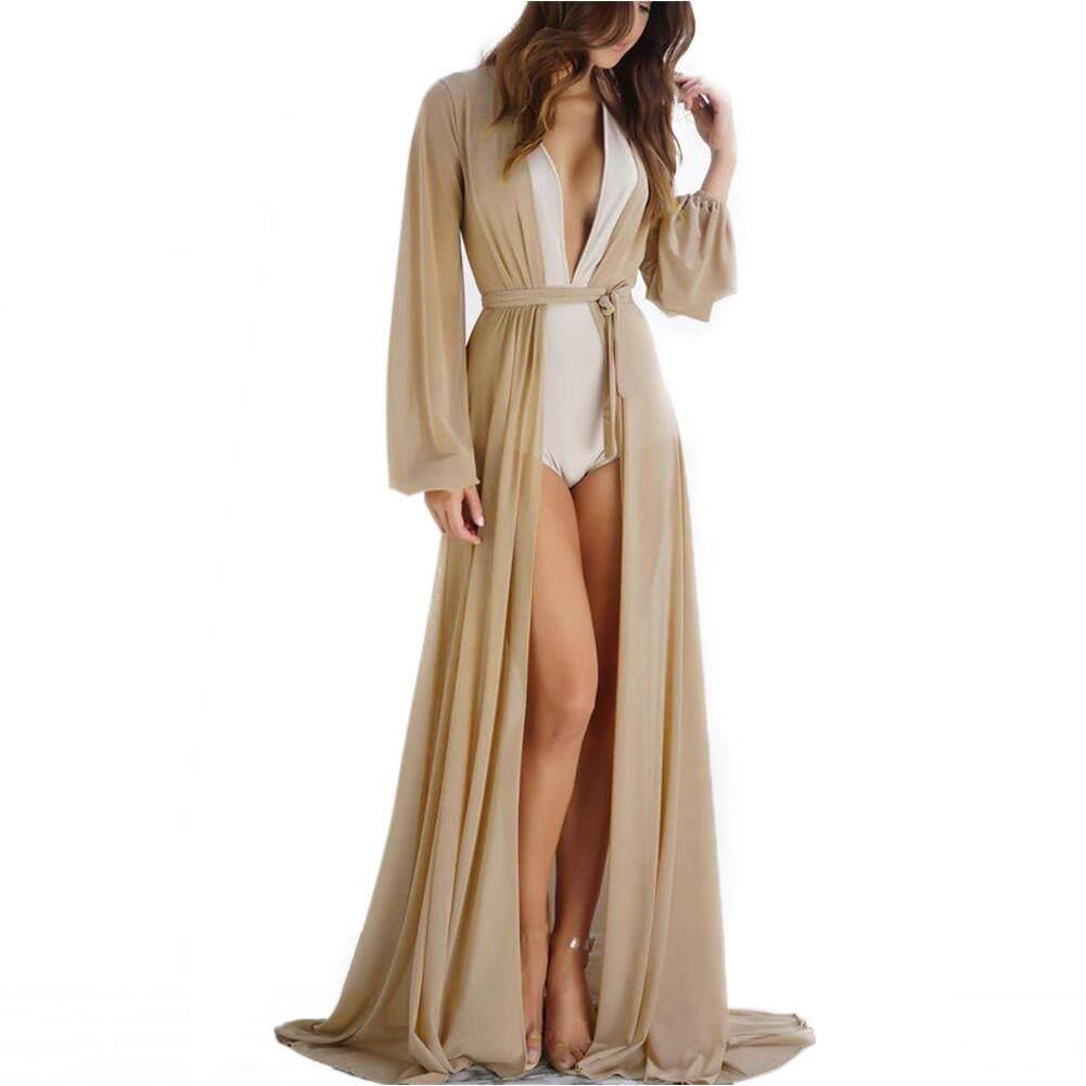 60b847e6e0 Casual Tunic Long Beachwear Summer Bikini Cover Up Bathing Suit Solid Soft  Maxi Polyeste Ladies Women