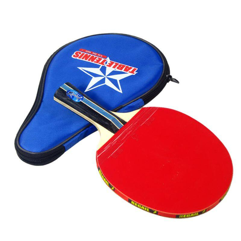 Long Handle Shake-Hand Table Tennis Racket Ping Pong Paddle + Waterproof Bag Pouch Red Indoor Accessory
