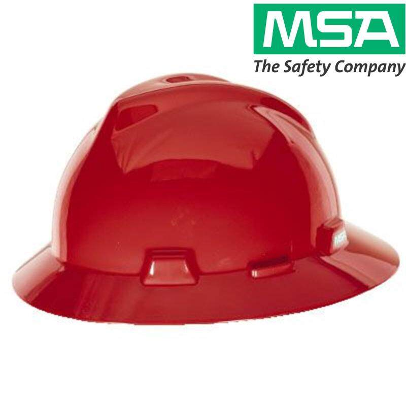 MSA V-Gard Safety Helmet Full Brim Hard Hat Head Protection, with Fastrac III (stock 2019 with various colour)