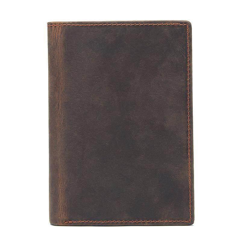 HOT!100% Genuine Leather Men Wallet Crazy Horse Leather Passport Holder Wallet Vintage Retro