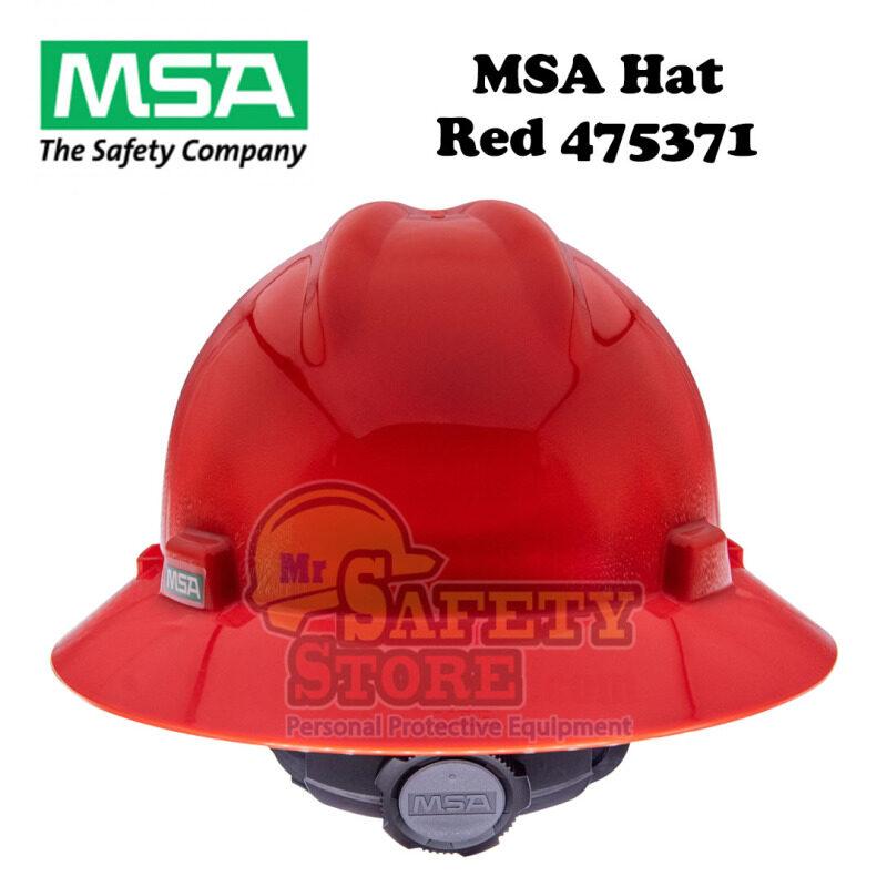 MSA V-Gard Full Brim Hard Hats - Red 475371