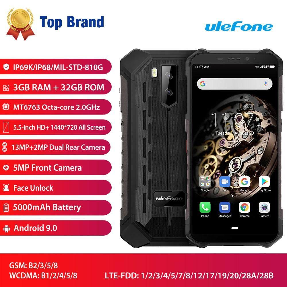 (Phí Giao Hàng Miễn Phí) Ulefone Armor X5 5.5-Inch HD + 3GB RAM 32GB ROM 13MP + 2MP Camera Android 9.0 MT6763 Octa Lõi 5000MAh NFC Mặt Mở Khóa 3G Chế Độ Dưới Nước Nút Tùy Chỉnh Điện Thoại Thông Minh