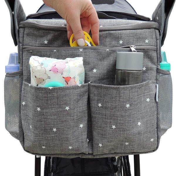 Smartconn Universal Stroller Organizer Bag Large Insulated Parent Console with Cup Holder and Extra Storage Pockets Universal Design - Attaches to Any Stroller Easy Installation Singapore