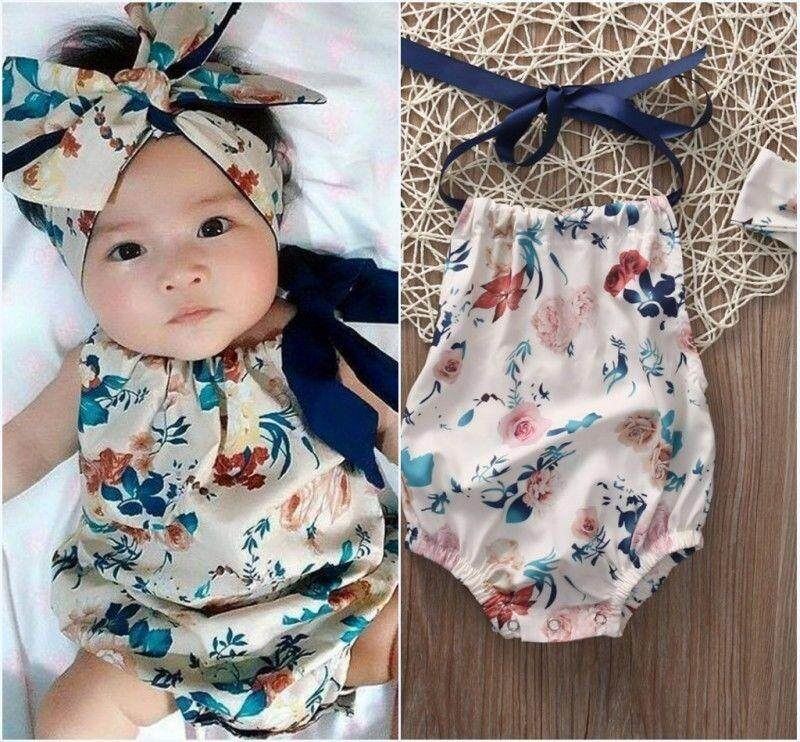 e021b1556a7b 2PCS Newborn Infant Baby Girl Floral Romper Jumpsuit Playsuit Headband Outfit  Set Clothes