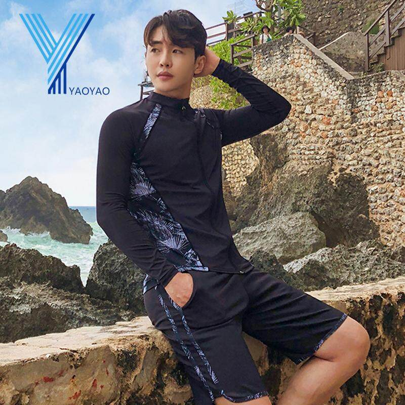 3pcs Fashion Swimming Suit For Men Swimsuit Surfing Beach Korean Men Surf Swimwear Diving Suit Long Sleeve Long Pants Shorts Set Ly3656 By Yaoyaomall.