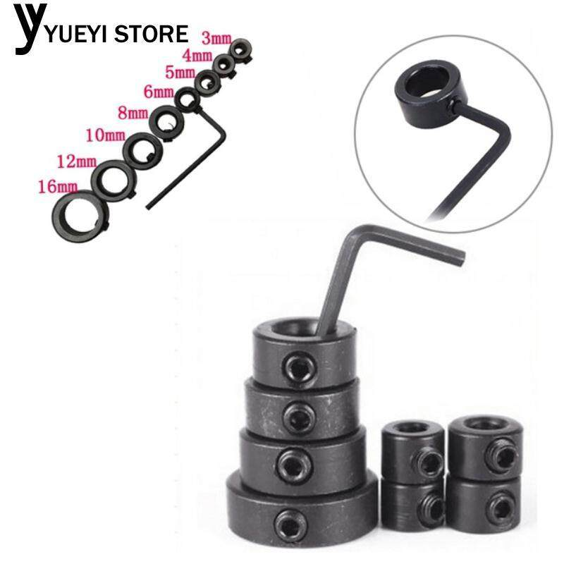 7pcs Durable Portable Riveting Drill Adapter Ring Locator Bit Locator Blackening Black Carbon Steel Woodworking Parts Bit Limit Ring Electric Drill Accessories