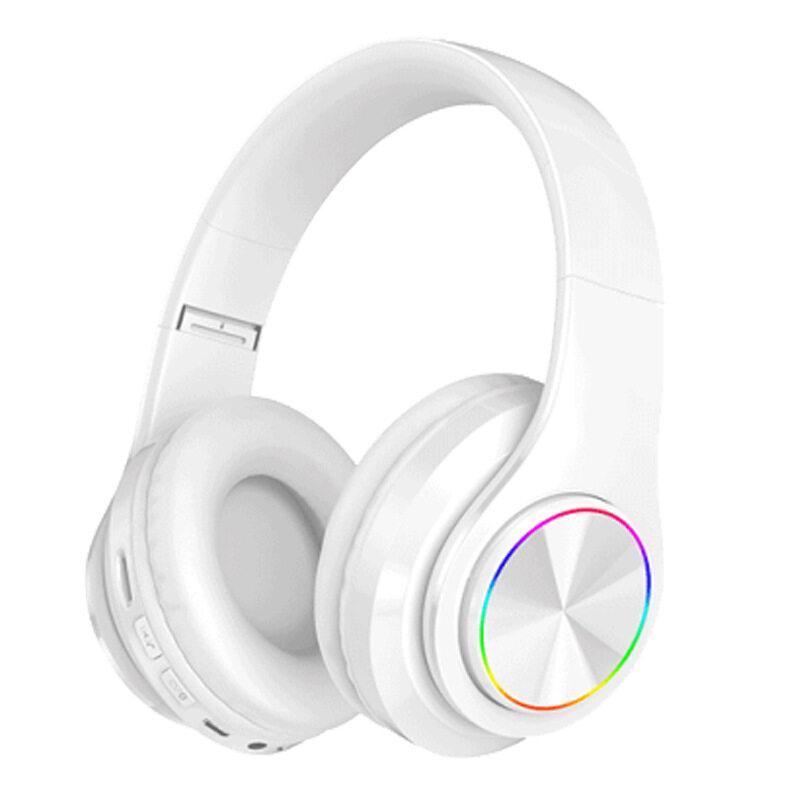 Tai Nghe Không Dây Bluetooth 5.0, Tai Nghe Chơi Game Âm Thanh Nổi Bass LED Nhiều Màu Ove-Tai Nghe Nhạc HiFi Có Thể Gập Lại Giảm Tiếng Ồn
