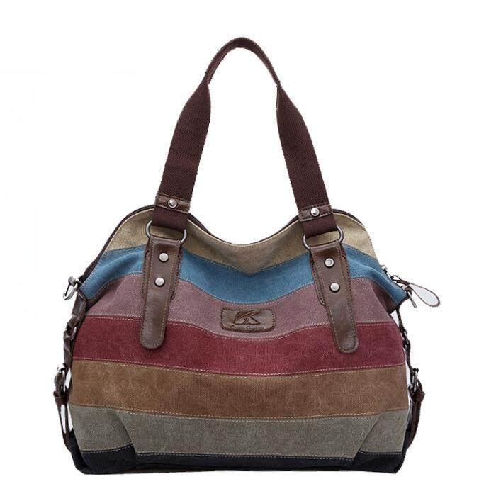 6c9c71c9495 Canvas bag trend rainbow striped canvas bag fashion stitching handbags wash  cloth bag