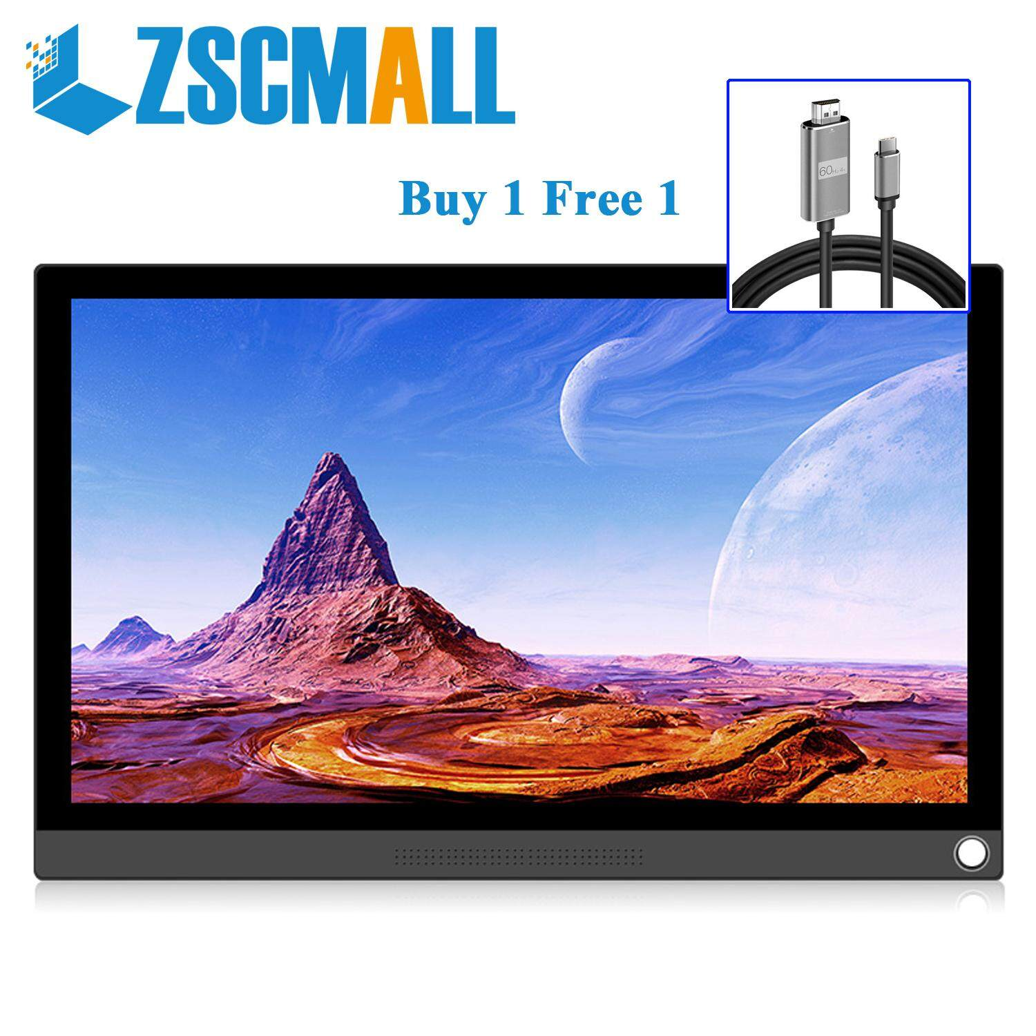 "ZSCMALL Touch Screen Monitor 15.6"" USB Type-C Full HD 1080 IPS USB C Portable Monitor Built-in Dual Speakers and Battery Compatible with Laptop Computer Raspberry pi Gaming Monitor for PS4 PS3 Xbox Free Shipping Malaysia"