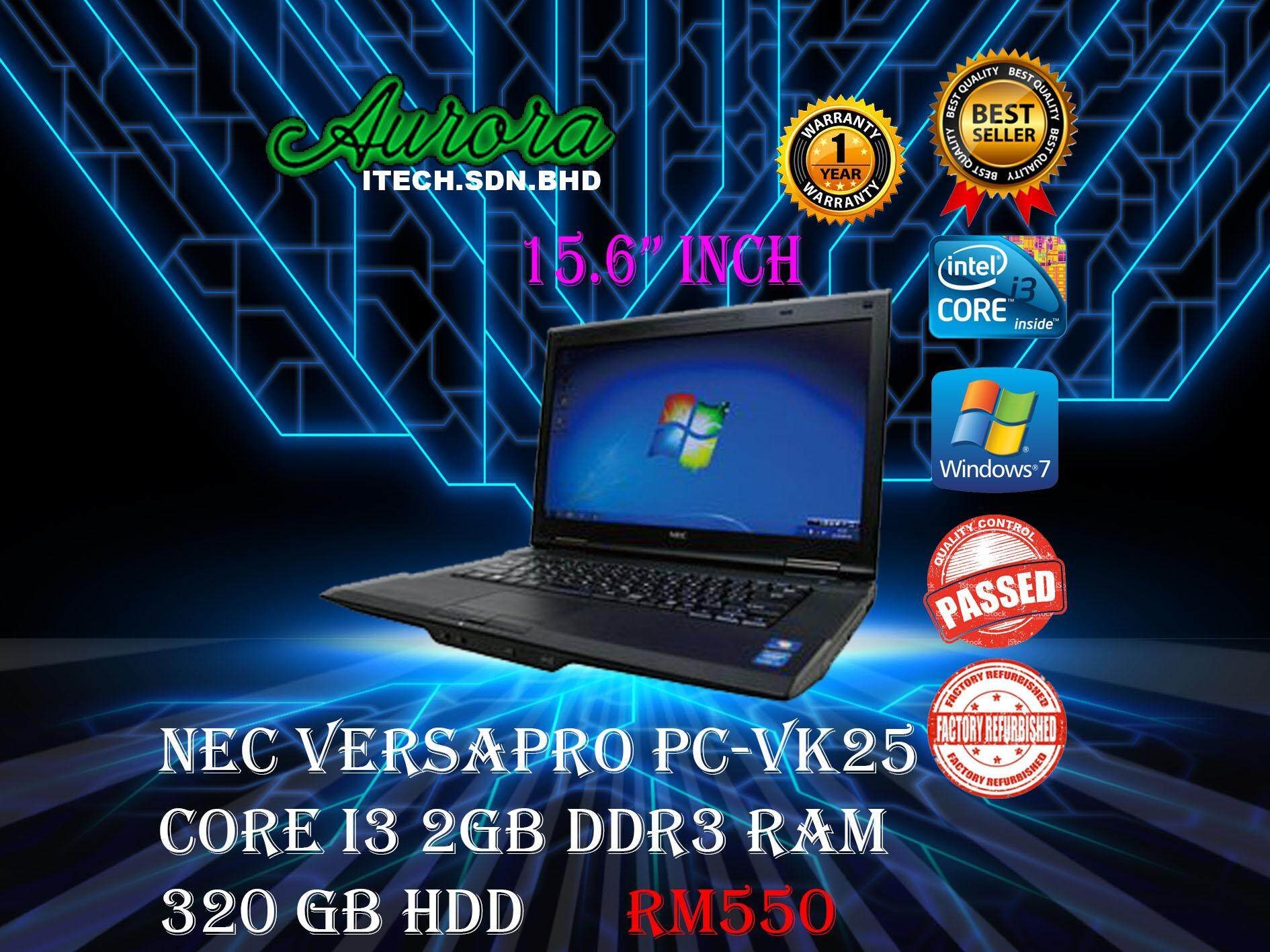 (REFURBISHED)NEC VersaPro VK25  / Core i3 3th Gen / 2GB DDR3 RAM / 320GB HDD / 15.6ich Screen /1 Year Warranty/ Free Mouse & Bag Malaysia