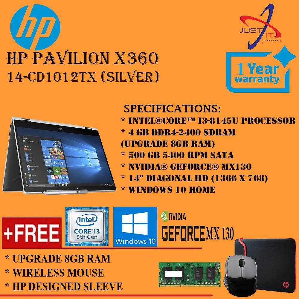 (UPGRADED) HP PAVILION X360 14-CD1012TX I3-8145U 12GD4 500GB MX130 2GD5 WIN10H SILVER (FREE UPGRADE RAM, WIRELESS MOUSE, HP SLEEVE)