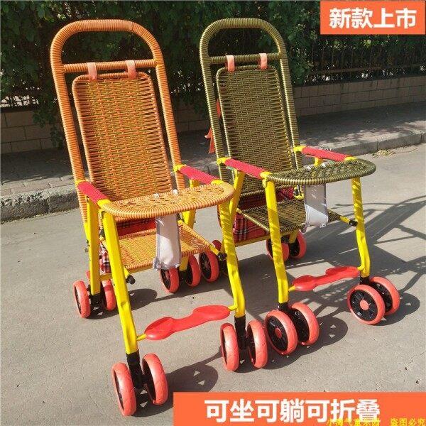 Baby bamboo rattan stroller lightweight four seasons rattan baby stroller reclining folding bamboo rattan chair children stroller
