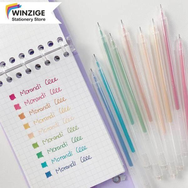 Winzige Bộ Bút Gel 9 Màu, Morandi Bút Đánh Dấu Nhật Ký Màu Cổ Điển Đồ Dùng Học Sinh