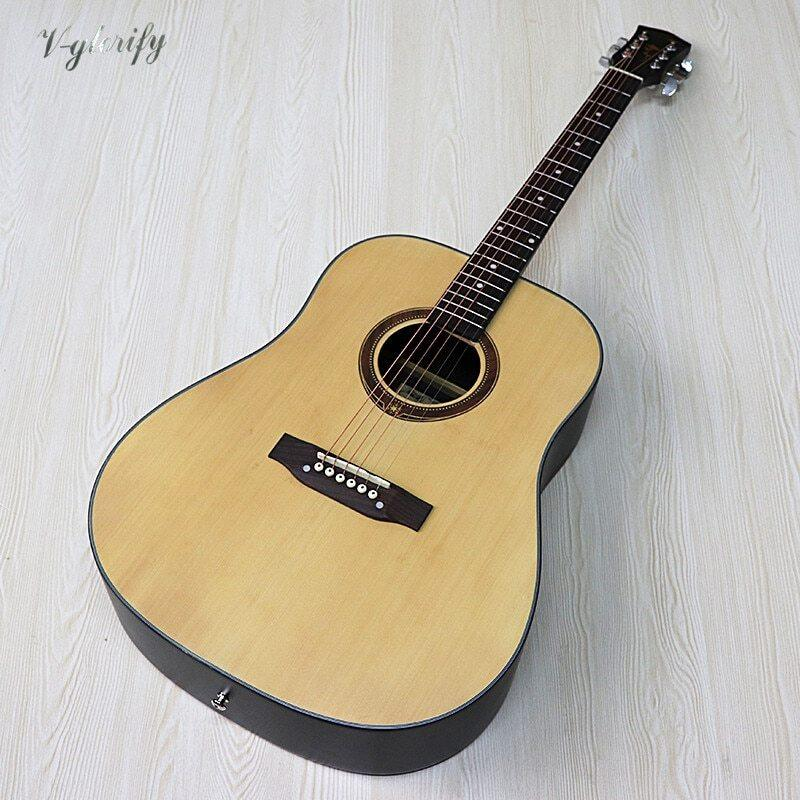 Full size design 41 inch electric acoustic guitar 6 string solid spruce wood matte finish folk guitar 20 frets acoustic guitar Malaysia