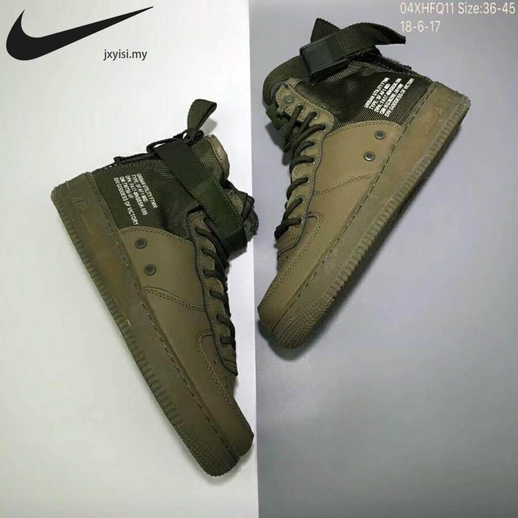 ยี่ห้อนี้ดีไหม  ประจวบคีรีขันธ์ 100%★Nike SF AF1 Air Force 1 MID Mens สีเขียว high Tops รองเท้าผ้าใบอเนกประสงค์รองเท้าบู๊ทเล่นหิมะ