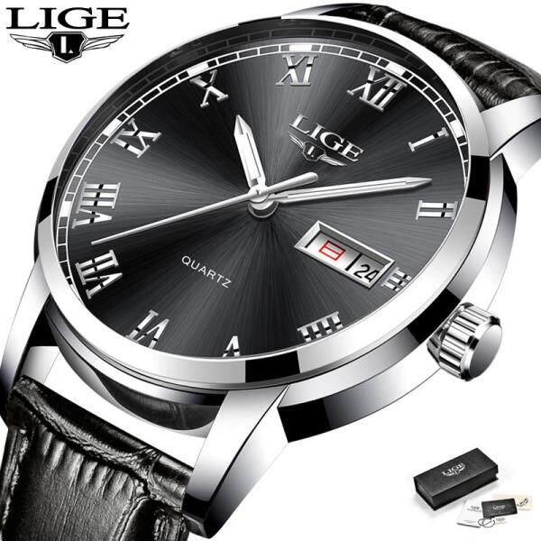 LIGE Men Watches Top Brand  Fashion Casual Waterproof Auto Calendar Analog Quartz Leather Jam Tangan Lelaki Malaysia