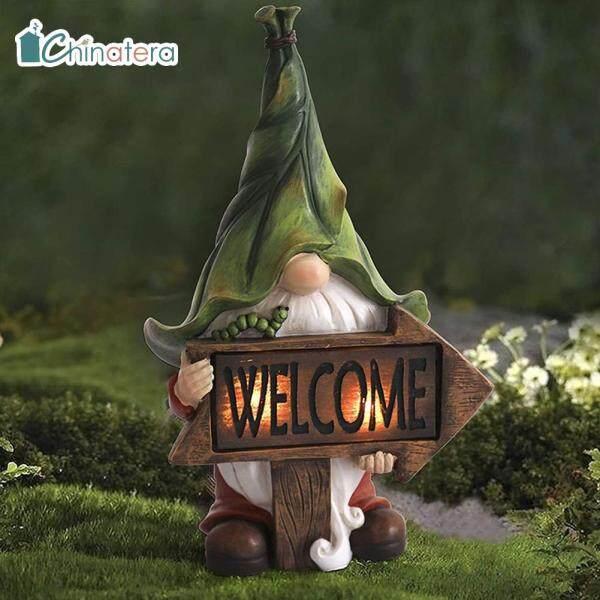 [Chinatera] Dễ Thương Phim Hoạt Hình Faceless, Lùn Gnome LED Năng Lượng Mặt Trời Ánh Sáng Đèn Chỉ Thị Tượng Nhựa Đèn Lồng Làm Vườn Nghệ Thuật Phong Cảnh Vi Đồ Trang Trí Ban Đêm Trang Trí Đèn