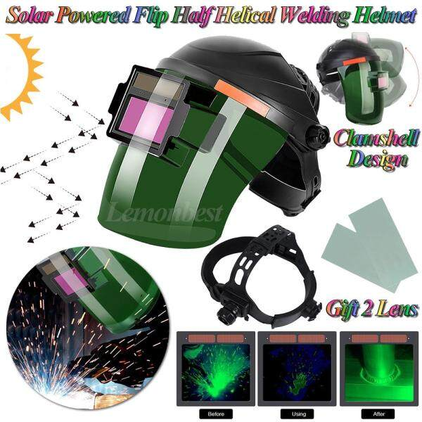 Portable Solar Powered Automatic Darkening Photoelectric Safety Head-Mounted Argon Arc Welding Cap Protective Mask Tool Eye UV/IR Protection Equipment Flat Flip Half Helical Welder Helmet(Gift 2 Pcs Glasses Lens)