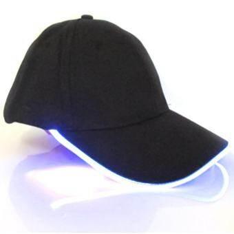 หมวกเบสบอล LED หมวกมีไฟปาร์ตี้เบสบอลฮิปฮอปปรับหมวกผ้าหมวกคริสต์มาสประดับไฟ (สีแดง)-