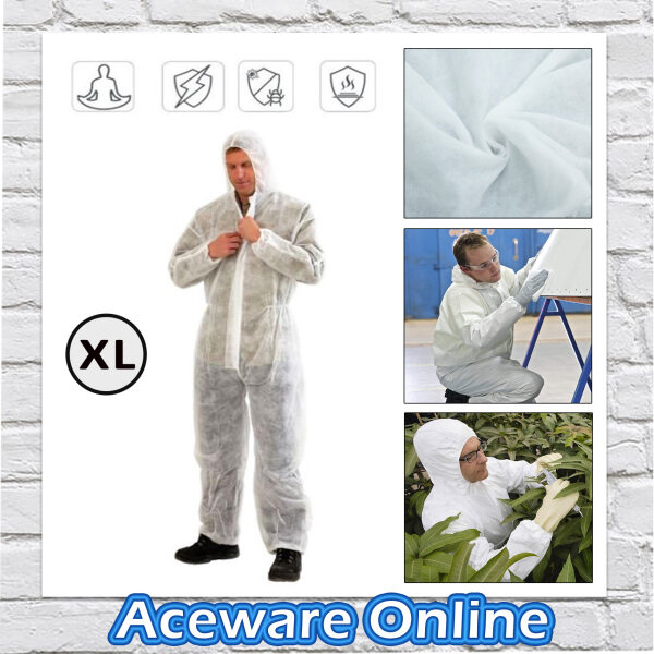 Non-Woven PP Disposable Coverall Suit Protective Coat Size L/XL