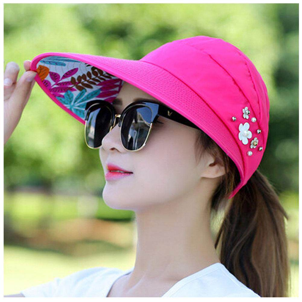 66baa302c8a Lady Womens Visor Hat Summer Sun Beach Ladies Foldable Roll Up Wide Brim Cap