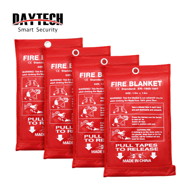 DAYTECH Home Fire Blanket for Kitchen Fiberglass Safety Fire Fighting Prevention for Factory/Fireplace/Grill/Car 1.0m x 1.0m 4PCS Pack FB01