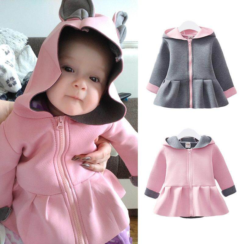 Kids Baby Girl Bunny Hooded Coat Jacket Rabbit Ear Autumn Winter Outwear Clothes By Lg566.