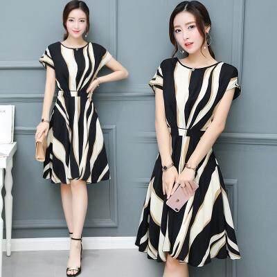 aabae026d2c87 WDF# New Short Sleeve Stripe Style Big Pendulum Flower Dress