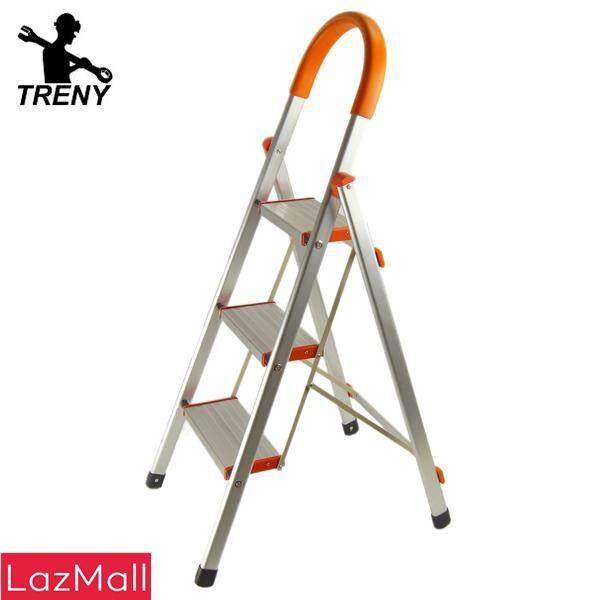 TRENY Wide Tread Aluminum 3/4/5/6 Step Ladder