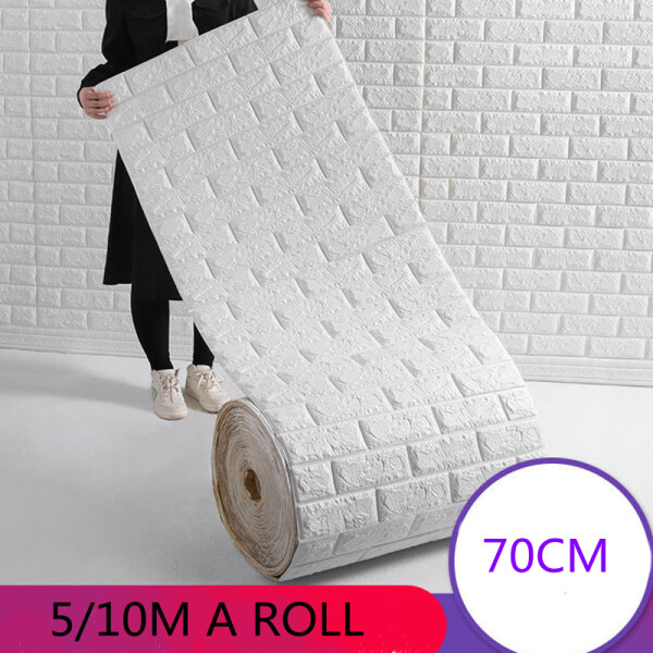 5m/10mx70cm 3mm A Roll 3D Foam Brick Fashion Self-Adhesive Wall Sticker Thick Decorative Waterproof Fast Simple Wallpaper Super Thick For Room Living Room Home Wall Decor