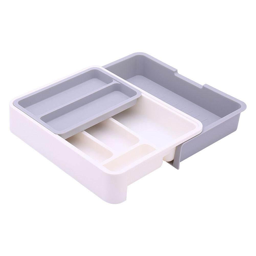 KEJARYRetractable Kitchen Rack Dishware Drawer Organizer Storage Box Free-Separated Grid Plastic Storage Box