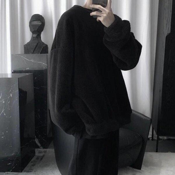 Hàng Mới Về Qw81 Cho Nam Mùa Thu Và Mùa Đông Dáng Rộng Chất Liệu Nhung Vòng Cổ Đơn Giản Áo Len Dày Mới áo hoodie