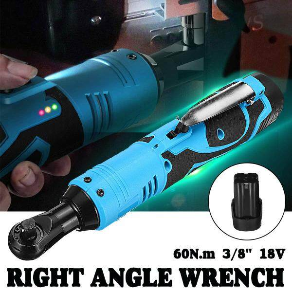 90° Cordless 3/8 Electric 18V 60N.m Ratchet Right Angle Wrench 8000mAh Ba-ttery